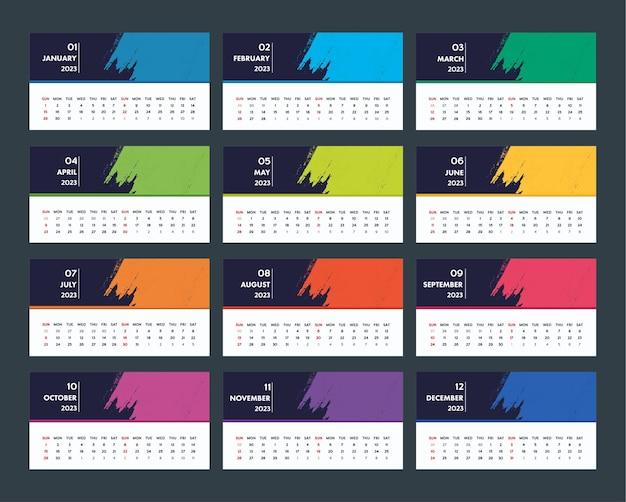 Nowoczesny szablon kalendarza na rok 2023
