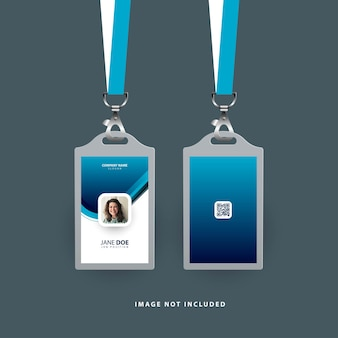 Nowoczesny szablon karty identyfikacyjnej w kolorze niebieskim