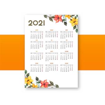 Nowoczesny szablon kwiatowy wzór kalendarza 2021