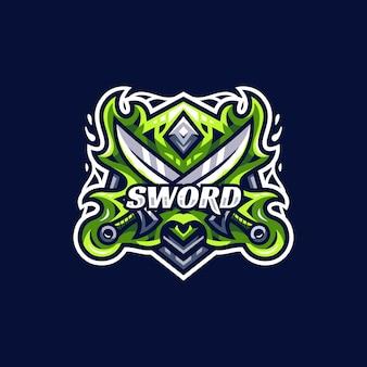 Nowoczesny szablon logo esport miecz i tarcza