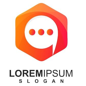 Nowoczesny szablon logo sześciokąt i czat