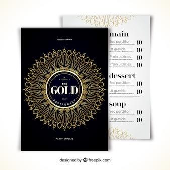 Nowoczesny szablon menu ze złotą mandalą