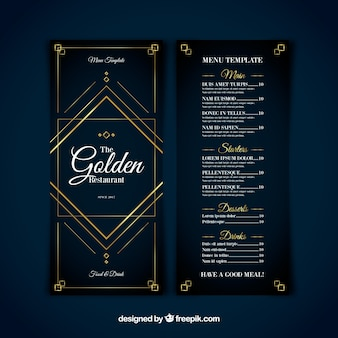 Nowoczesny szablon menu ze złotymi ozdobami