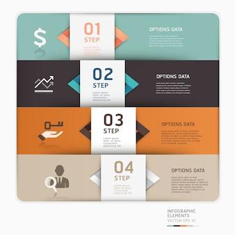 Nowoczesny szablon opcji biznesowych można wykorzystać do układu przepływu pracy, schematu, opcji liczbowych, projektowania stron internetowych, infografiki.