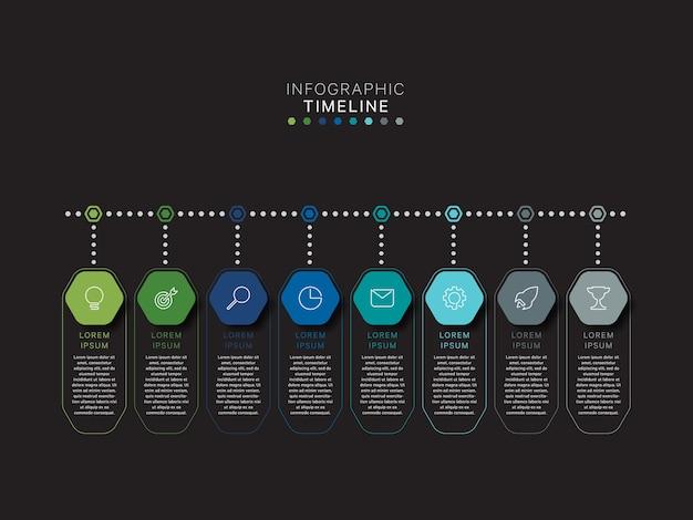 Nowoczesny szablon osi czasu infografiki z relistycznymi elementami sześciokątnymi