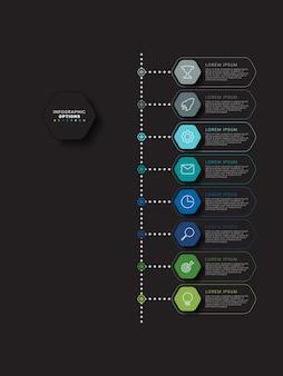 Nowoczesny szablon osi czasu infografiki z relistycznymi sześciokątnymi elementami w płaskich kolorach na czarnym tle. diagram procesów biznesowych z ikonami marketingowymi i polami tekstowymi.