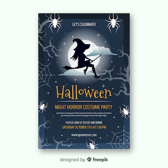 Nowoczesny szablon plakat party halloween z płaska konstrukcja