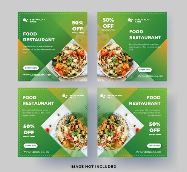 Nowoczesny szablon postu w mediach społecznościowych. restauracja jedzenie z świeżym zielonym