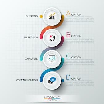 Nowoczesny szablon procesu infografiki z 4 koła papieru