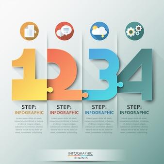 Nowoczesny szablon procesu infografiki z kolorowe numery