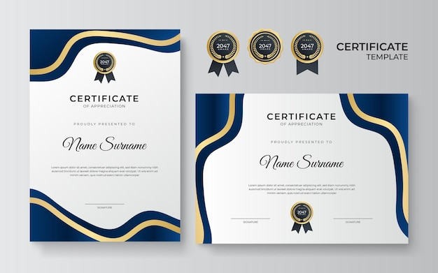 Nowoczesny szablon projektu certyfikatu niebieskiego złota