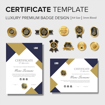 Nowoczesny szablon projektu certyfikatu z zestawem odznak