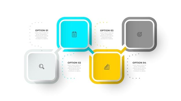 Nowoczesny szablon projektu infografiki z ilustracją kwadratowych i marketingowych ikon