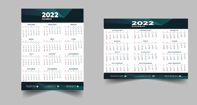 Nowoczesny szablon projektu kalendarza czarno-żółtego 2022