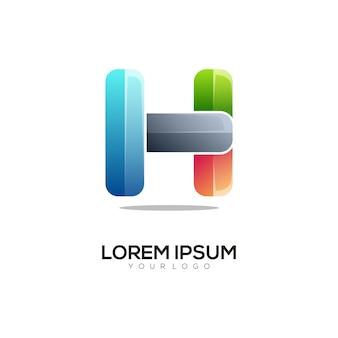 Nowoczesny szablon projektu kolorowe logo litery h