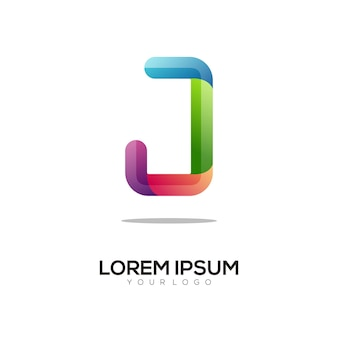 Nowoczesny szablon projektu kolorowe logo litery j