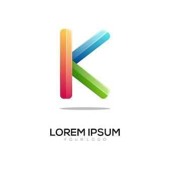 Nowoczesny szablon projektu kolorowe logo litery k