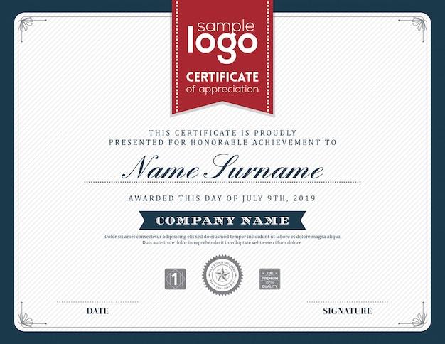 Nowoczesny szablon projektu ramki certyfikatu
