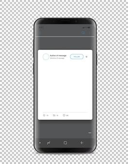 Nowoczesny szablon smartfona z postem w mediach społecznościowych