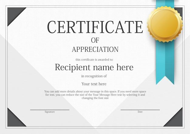 Nowoczesny szablon szablonu certyfikatu