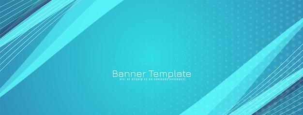 Nowoczesny szablon transparentu w stylu dynamicznej niebieskiej fali