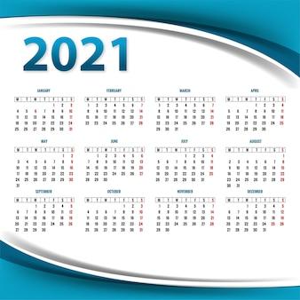 Nowoczesny szablon układu kalendarza 2021 na tle fali
