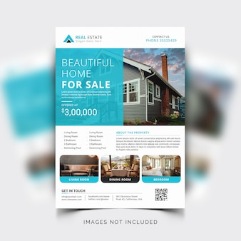 Nowoczesny szablon ulotki firmowej dla pośredników w obrocie nieruchomościami lub nieruchomości