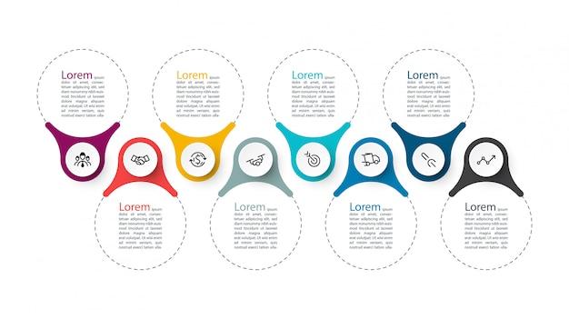 Nowoczesny szablon użycia infografiki, 8 kroków.