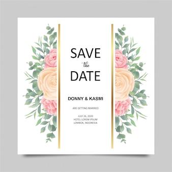 Nowoczesny szablon zaproszenia ślubne z dekoracjami kwiatowymi i liśćmi w stylu przypominającym akwarele