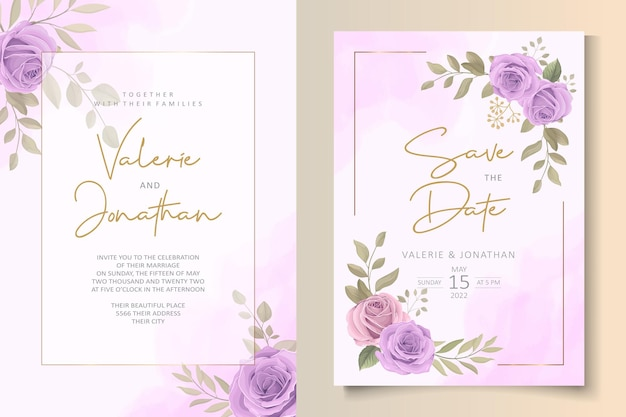 Nowoczesny szablon zaproszenia ślubne z fioletowym motywem kwiatowym