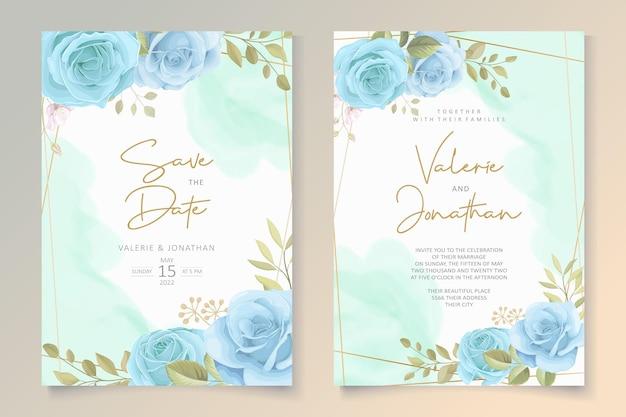 Nowoczesny szablon zaproszenia ślubne z niebieskim wzorem kwiatowym
