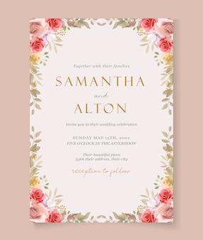 Nowoczesny szablon zaproszenia ślubne z pięknymi różami