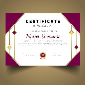 Nowoczesny szablon złotego certyfikatu premium