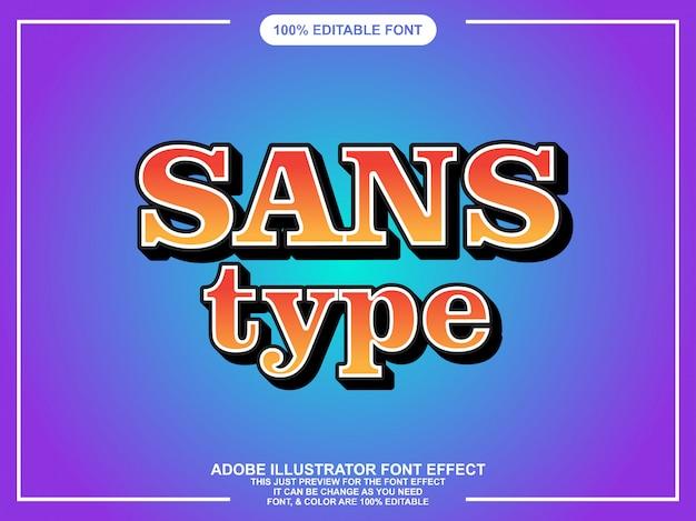 Nowoczesny szeryf edytowalny efekt tekstu w stylu graficznym