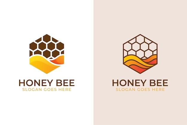 Nowoczesny sześciokąt z logo słodkiej pszczoły miodnej, etykiety miodowe, produkty, symbol słodkiej żywności w dwóch wersjach