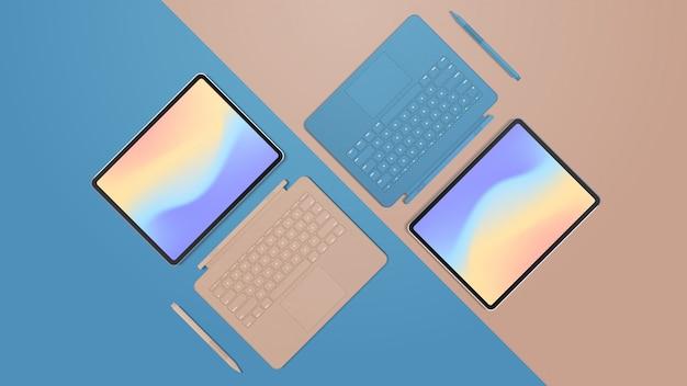 Nowoczesny tablet z klawiaturą i kolorowym ekranem, realistyczne makiety gadżetów i urządzeń
