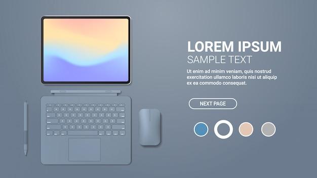 Nowoczesny tablet z klawiaturą, myszką i kolorowym ekranem