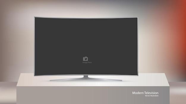 Nowoczesny Telewizor Na Białym Tle Na Sześciennym Tle Sceny Premium Wektorów