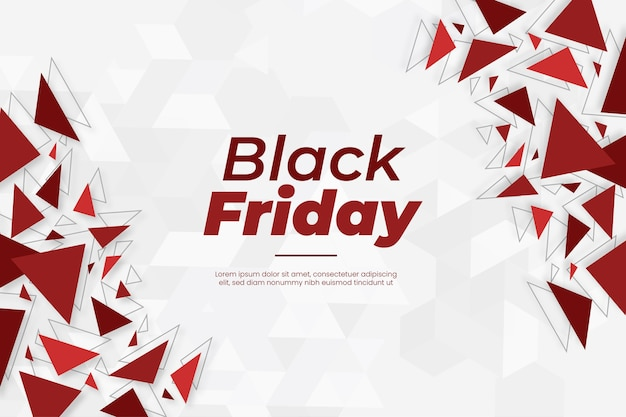 Nowoczesny transparent czarny piątek z abstrakcyjnymi czerwonymi kształtami geometrycznymi