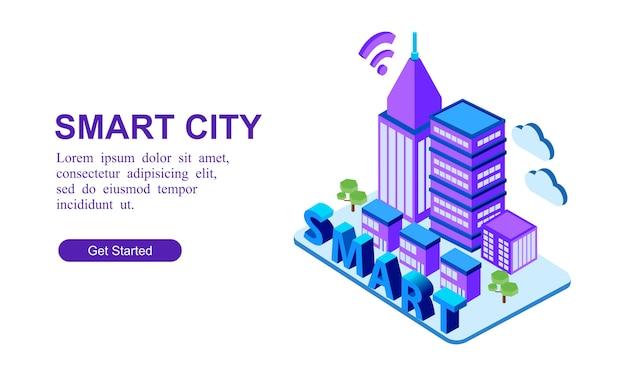 Nowoczesny transparent izometryczny inteligentnego miasta