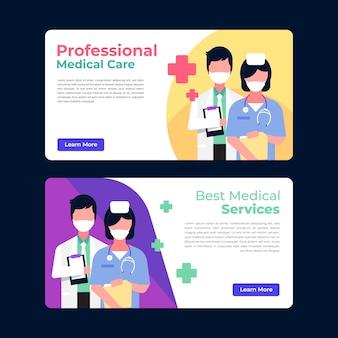 Nowoczesny transparent opieki zdrowotnej z lekarzem i pielęgniarką