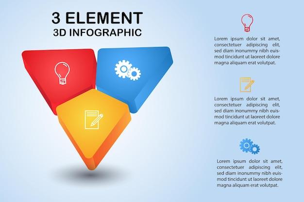 Nowoczesny trójkąt 3d diagram infografiki z 3 elementami