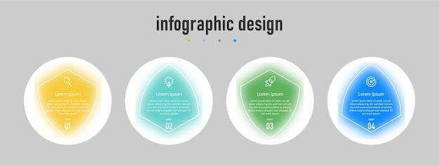 Nowoczesny trójkątny szablon biznesowy z infografiką i przepływem pracy z numerem opcji