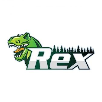 Nowoczesny tyranozaur sport team logo odznaka ilustracja
