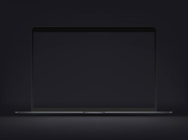 Nowoczesny ultracienki laptop klasy premium z pustym czarnym ekranem