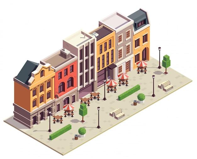 Nowoczesny widok izometryczny ulicy miasta z 5 kolorowymi domami z latarniami na tarasach, ławki, stoliki bistro na świeżym powietrzu