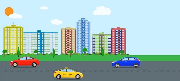 Nowoczesny widok na miasto. pejzaż z biurowcami i budynkami mieszkalnymi, drzewami, drogą z samochodem, niebieskim tle z chmurami. ilustracja wektorowa w stylu płaskiej
