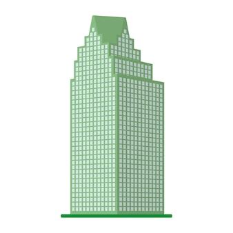 Nowoczesny wieżowiec na białym tle. widok budynku od dołu. ilustracja wektorowa izometryczny.