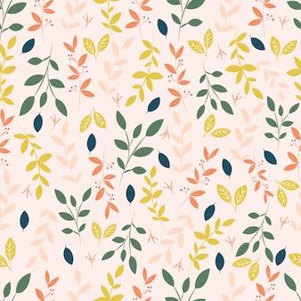 Nowoczesny wzór botaniczny z liści i kwiatów.