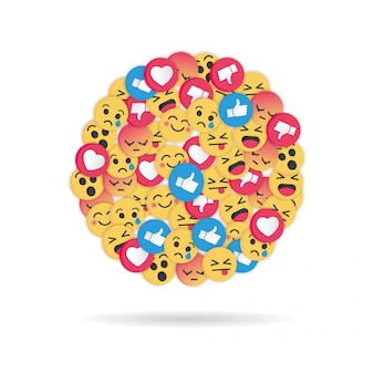 Nowoczesny wzór emoji na białym tle